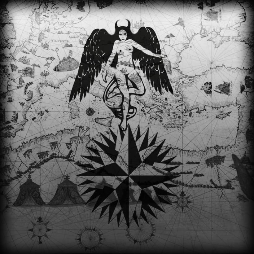 Rosa de los vientos y diablo.Photoshop e Illustrator. -1