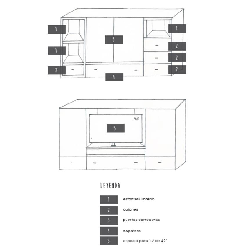 Diseño de un mueble para TV - concepto 1