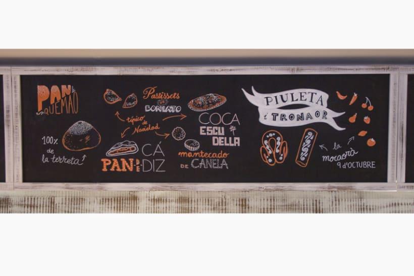 La Tahona del abuelo, horno tradicional y cafetería. Pizarras, lettering. Valencia / 2013-2014 6
