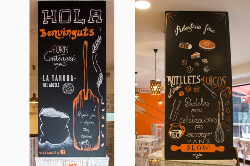 La Tahona del abuelo, horno tradicional y cafetería. Pizarras, lettering. Valencia / 2013-2014 8
