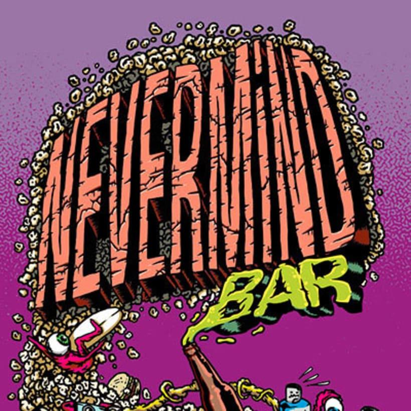 Ilustracion de tabla de Skateboard para Nevermind Bar Barcelona 1