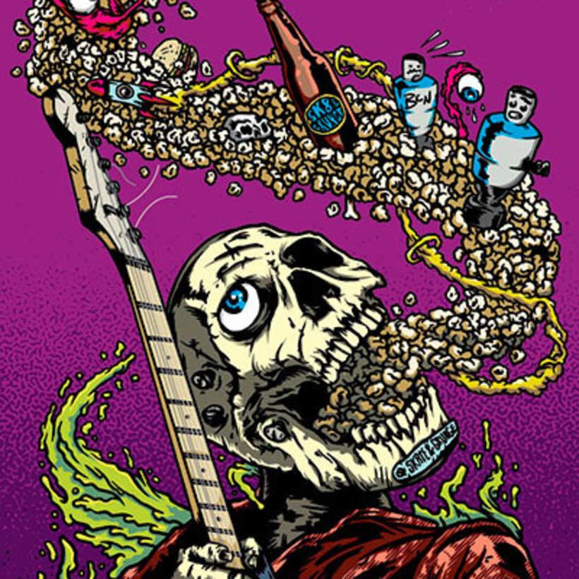 Ilustracion de tabla de Skateboard para Nevermind Bar Barcelona 2