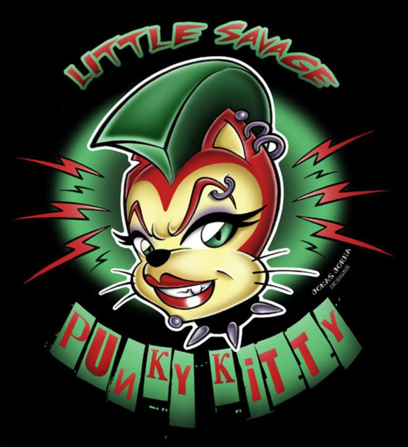 """Little Savage Punky Kitty"" Ilustración para camisetas y pegatinas -1"