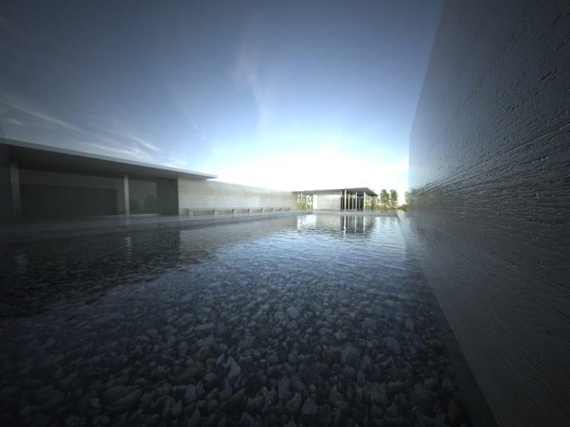 3D RENDER | Pabellón de Van Der Rohe 1