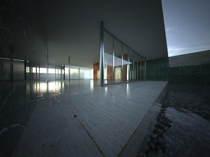 3D RENDER | Pabellón de Van Der Rohe 2