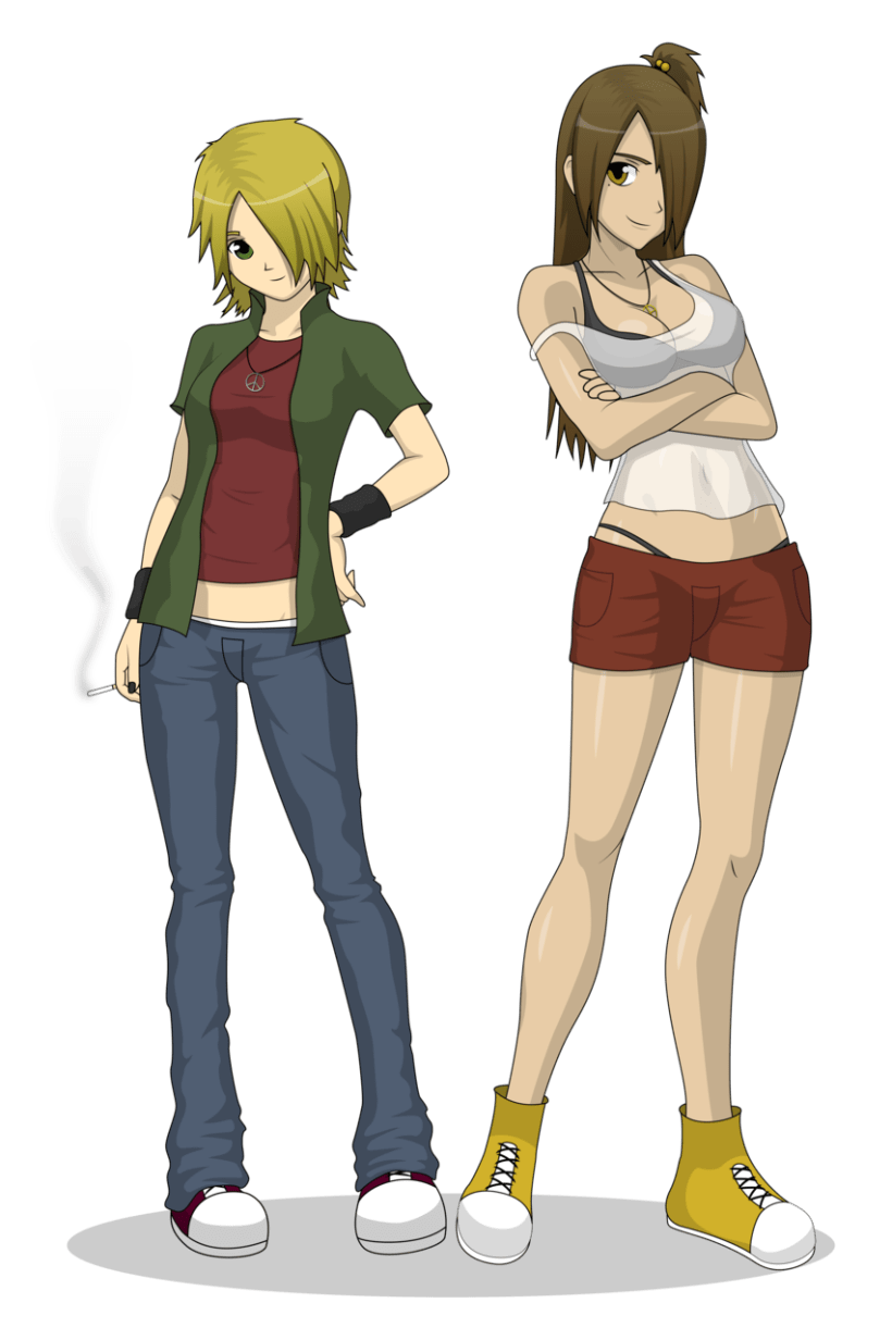 """Victoria y Evelynn"" Diseño de personajes para ""Think and make rainbows"" -1"