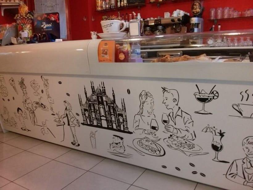 Ilustraciones personajes bar heladería Milán Italia 0