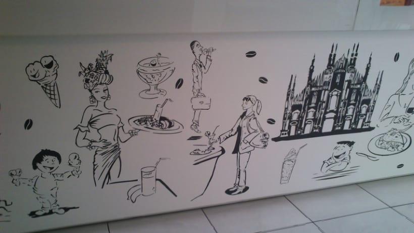 Ilustraciones personajes bar heladería Milán Italia 1