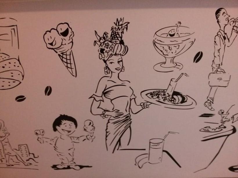 Ilustraciones personajes bar heladería Milán Italia 2