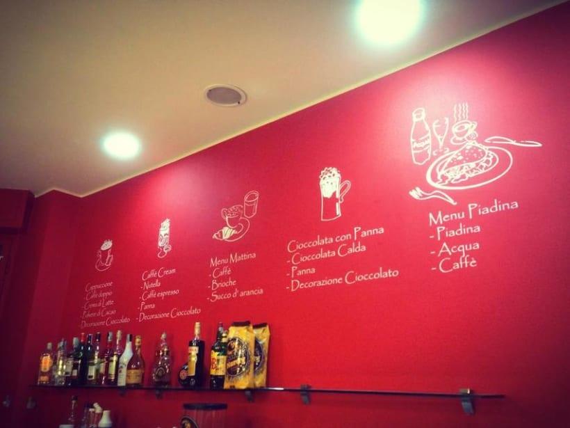Ilustraciones personajes bar heladería Milán Italia 4