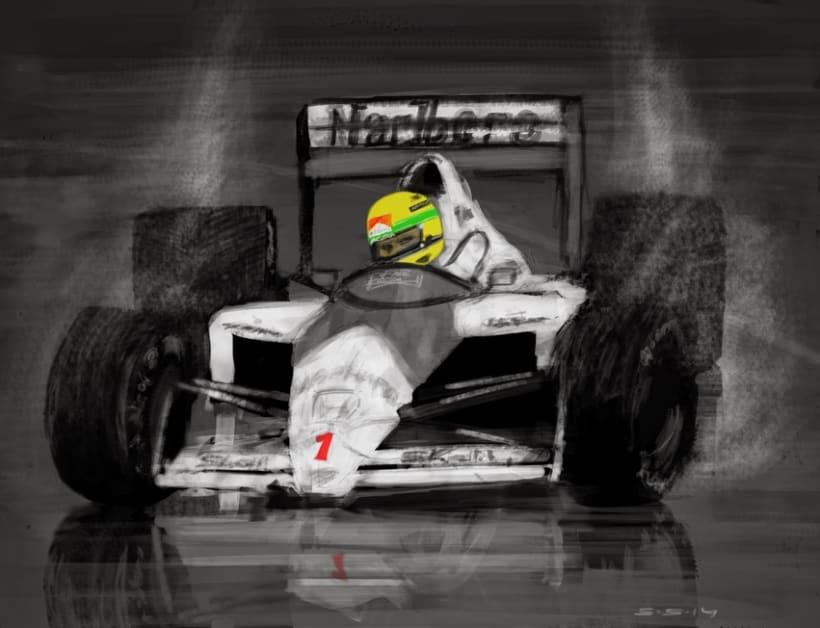 Ilustración Ayrton Senna  -1