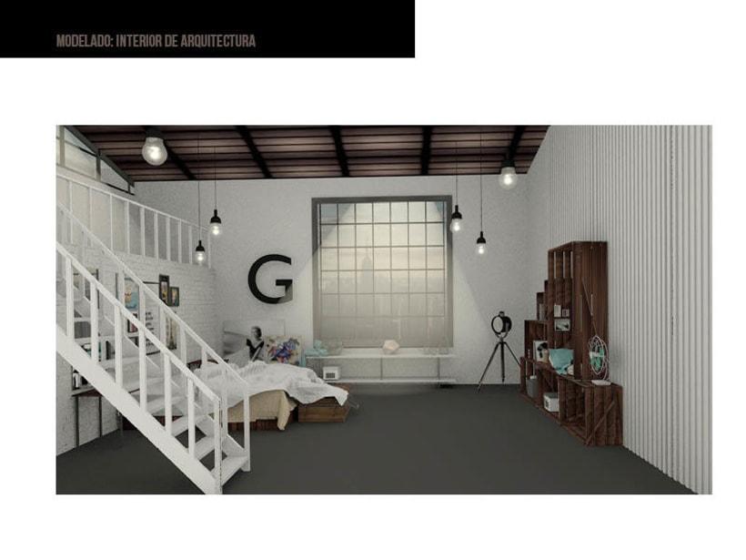 Modelado 3D: loft interior -1