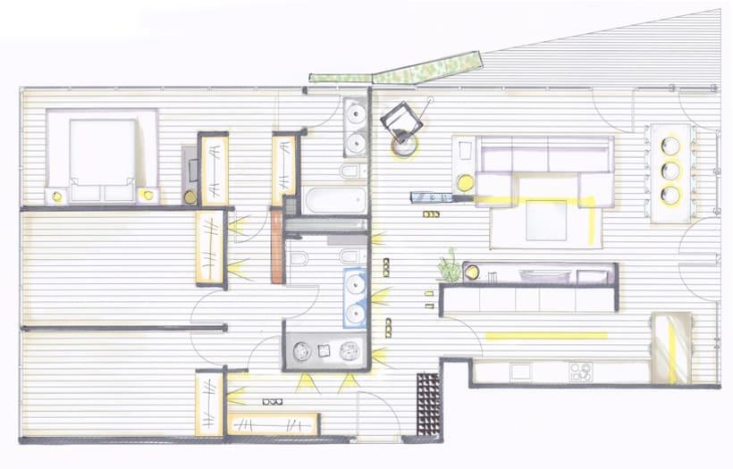 Dise o interior vivienda b g domestika for Diseno de viviendas