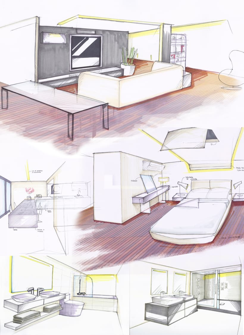 Dise o interior vivienda b g domestika for Diseno de interiores dibujos