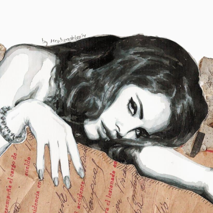Burning poetry (Portrait of Lana del Rey) 1
