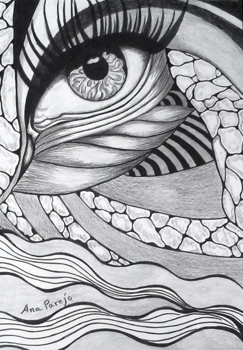 Mirada- ilustración a lápiz y rotulador -1