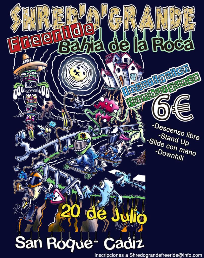 Cartel Shred'o'Grande Freeride Bahía de la Roca 2014 1