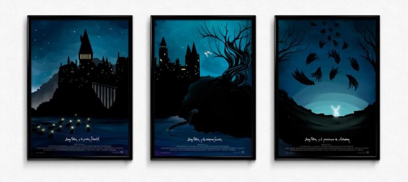 Poster tríptico de la saga Harry Potter 3