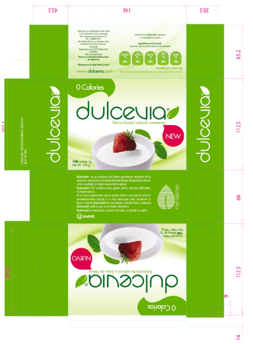 Packaging design for natural sweetener Dulcevia 2