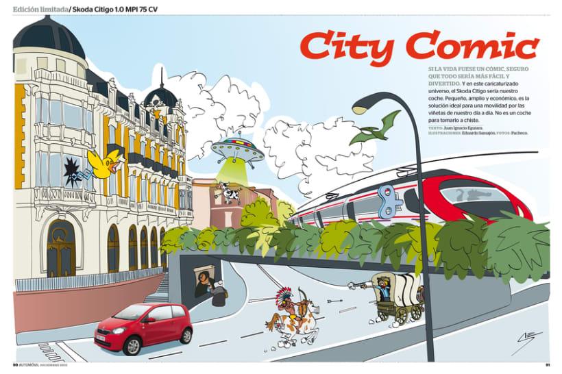 Publi-reportaje del Skoda Citygo para la revista Automóvil 0
