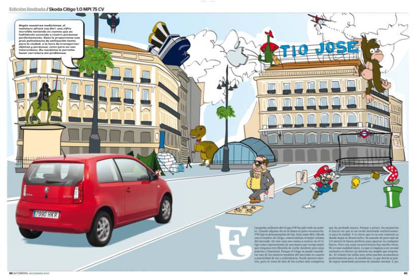 Publi-reportaje del Skoda Citygo para la revista Automóvil 1