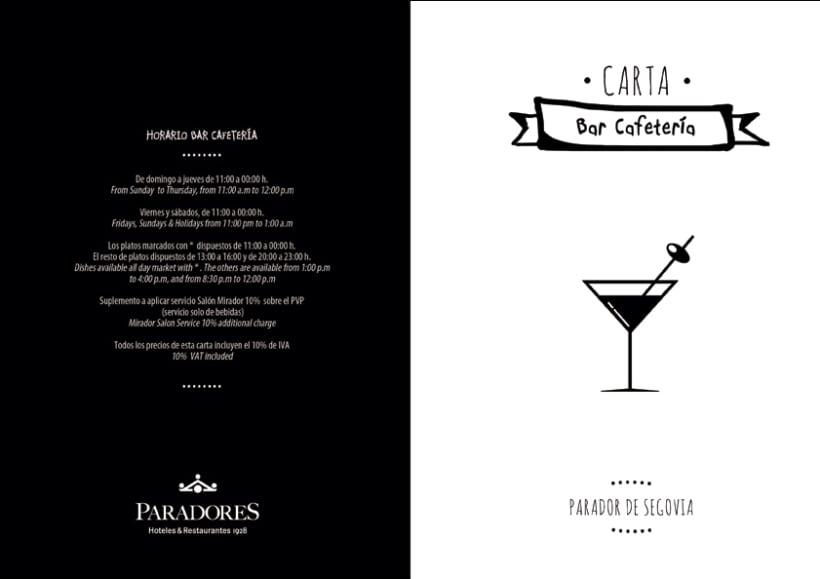 Diseño carta Bar - Cafetería Parador de Segovia 0