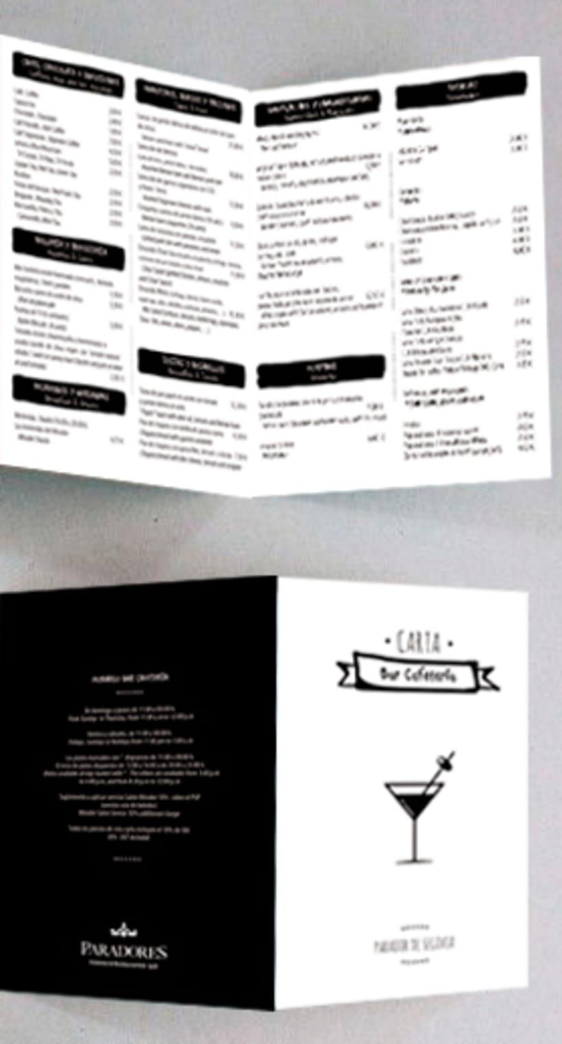 Diseño carta Bar - Cafetería Parador de Segovia 2