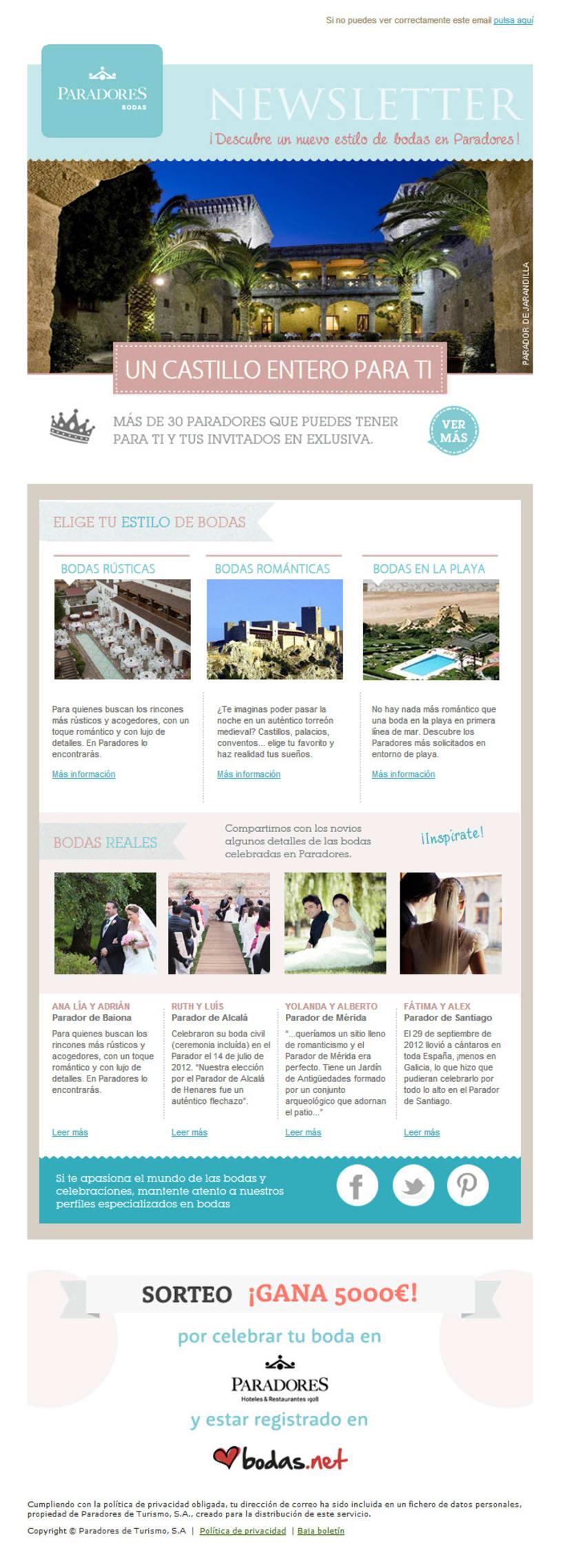 Newsletters temática Bodas - diseño y maquetación html 0