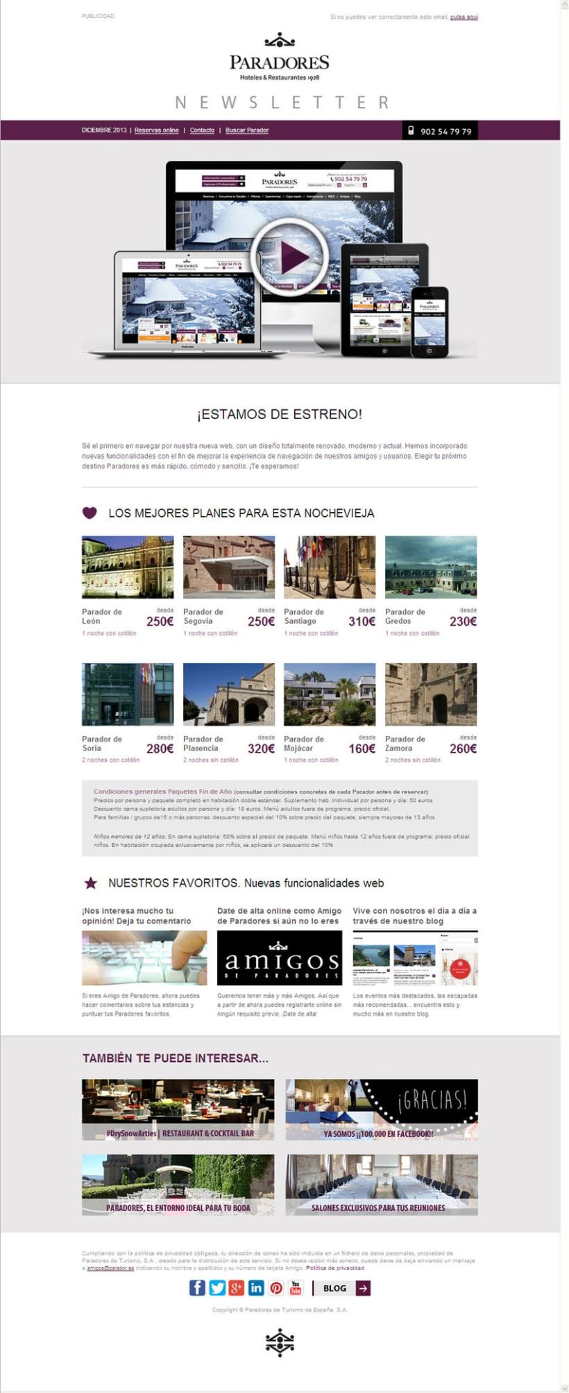 Newsletters Paradores. Diseño y maquetación HTML -1