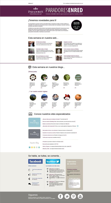 Newsletters Paradores. Diseño y maquetación HTML 0