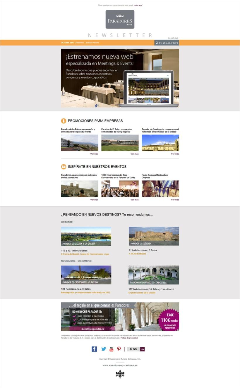 Newsletters Paradores. Diseño y maquetación HTML 1