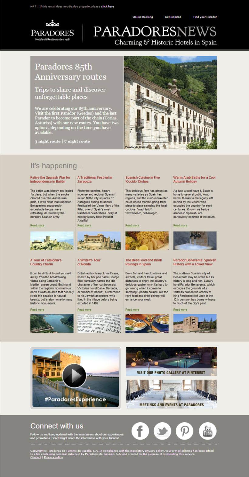 Newsletters Paradores. Diseño y maquetación HTML 2
