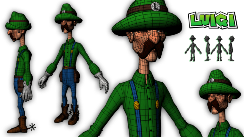 Luigi character Modeling and Texturing 3D in Autodesk Maya  0