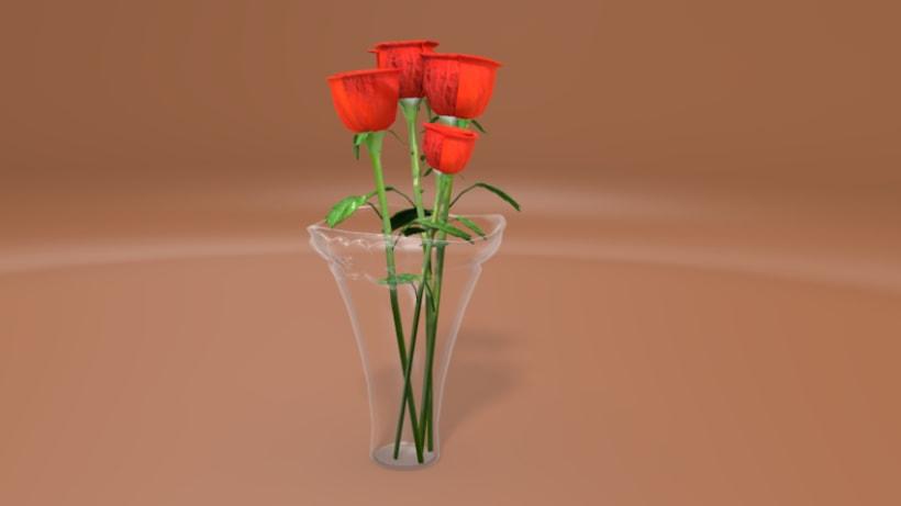 Rosas en florero 0