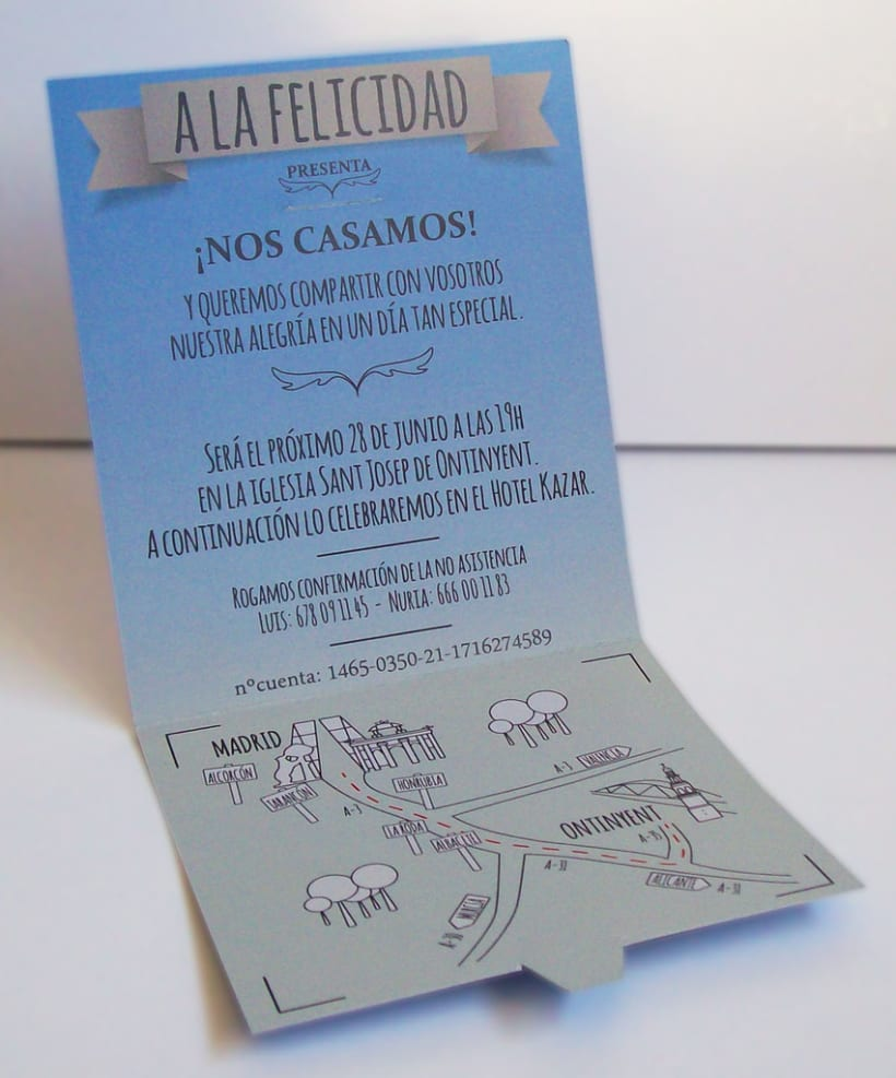 Boda. Diseño de invitación, tarjetas y packaging para los detalltes. 1