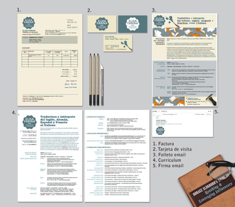 Logotipo, papelería de empresa y diseño web para la traductora e intérprete Elisa Farina 1