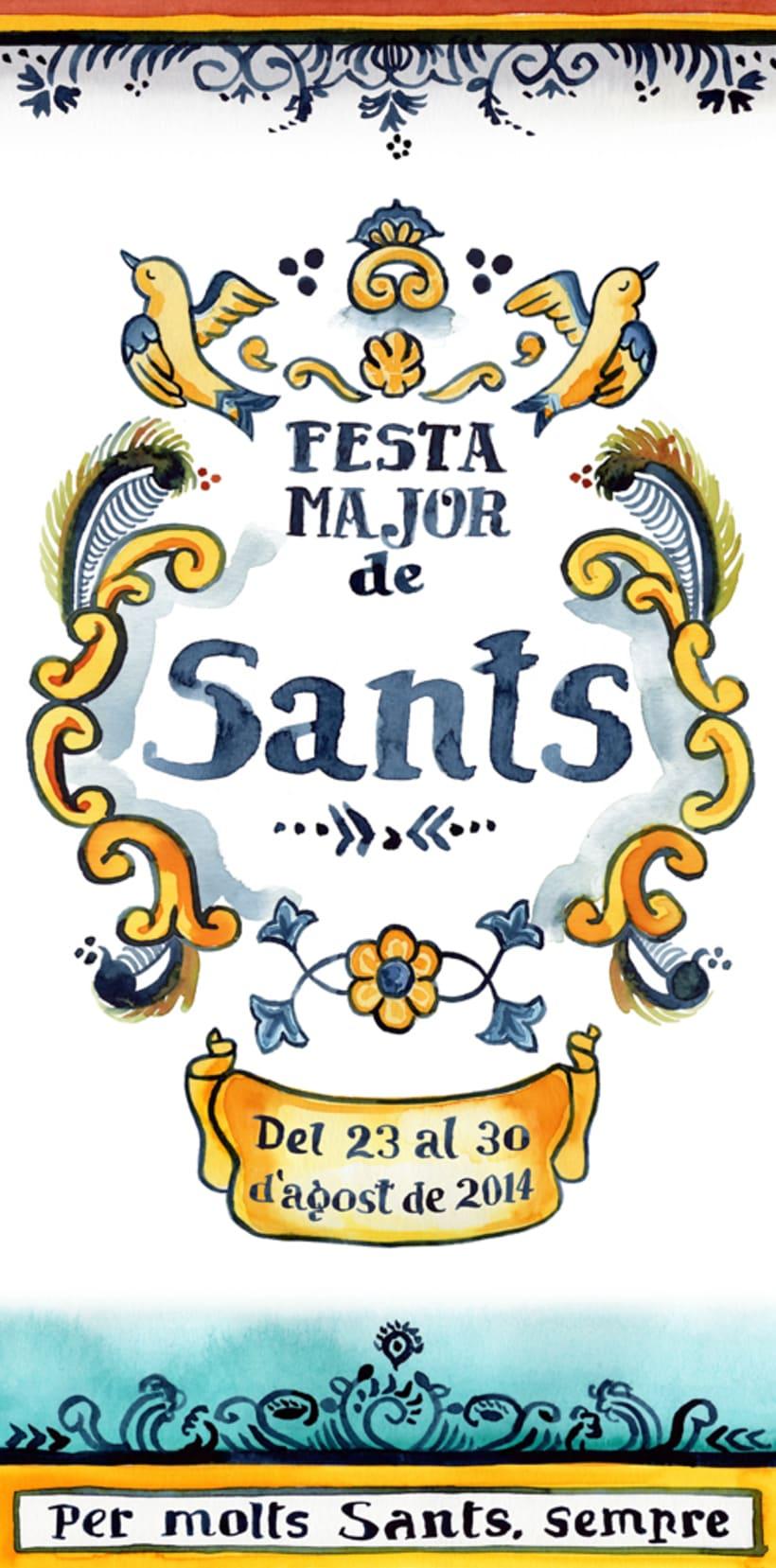 Propuesta cartel poster Fiesta Mayor de Sants · acuarela -1