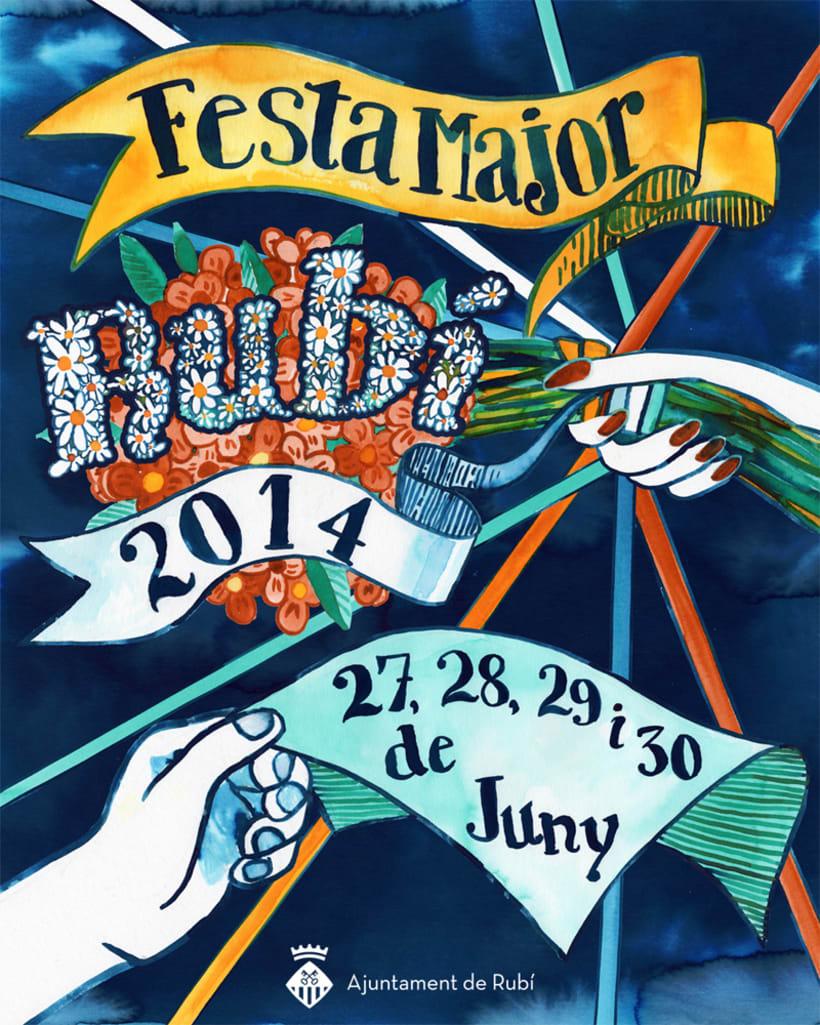Propuesta cartel poster Fiesta Mayor de Rubí · acuarela -1
