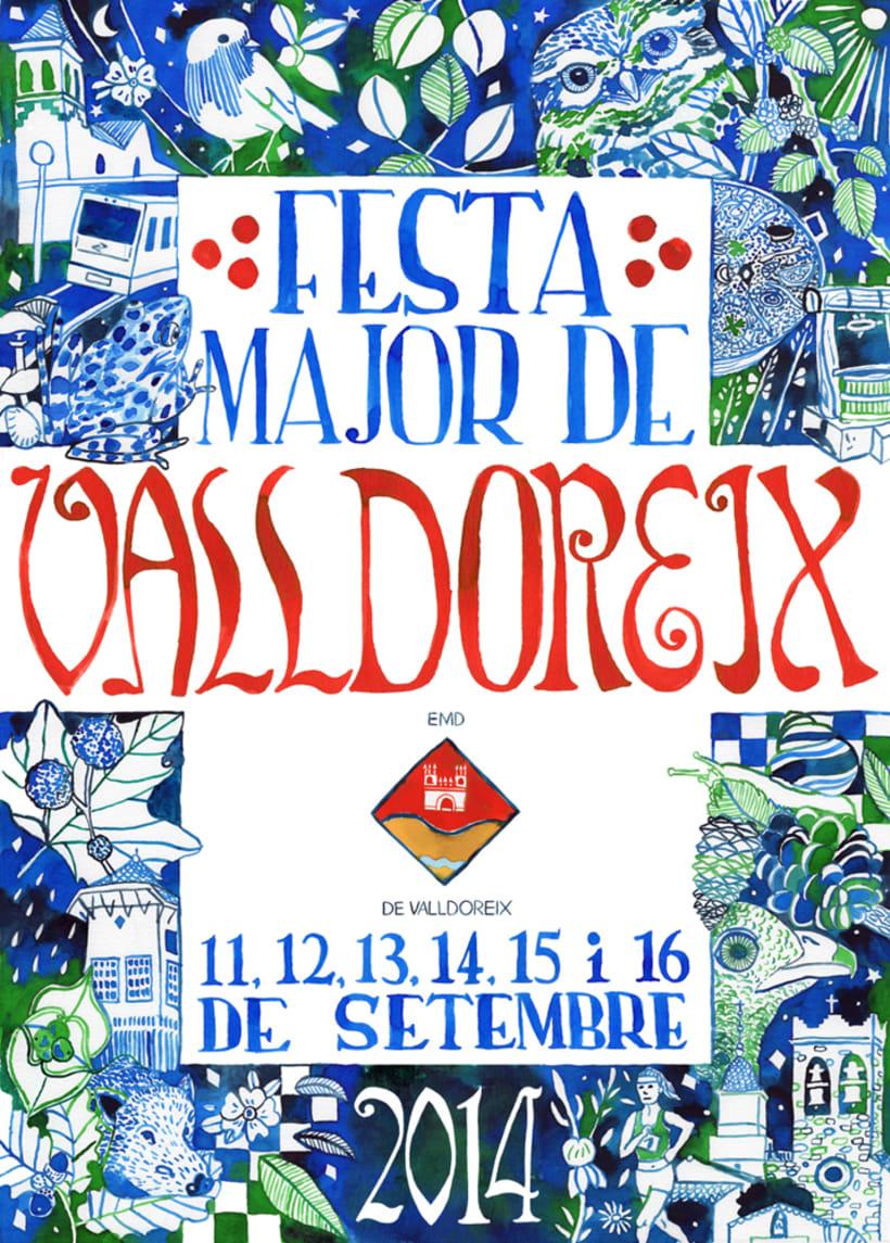 Propuesta cartel poster Fiesta Mayor de Valldoreix · acuarela -1