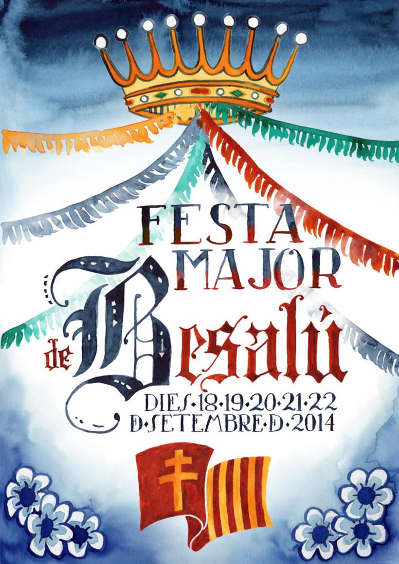 Propuesta cartel poster Fiesta Mayor de Besalú · acuarela -1