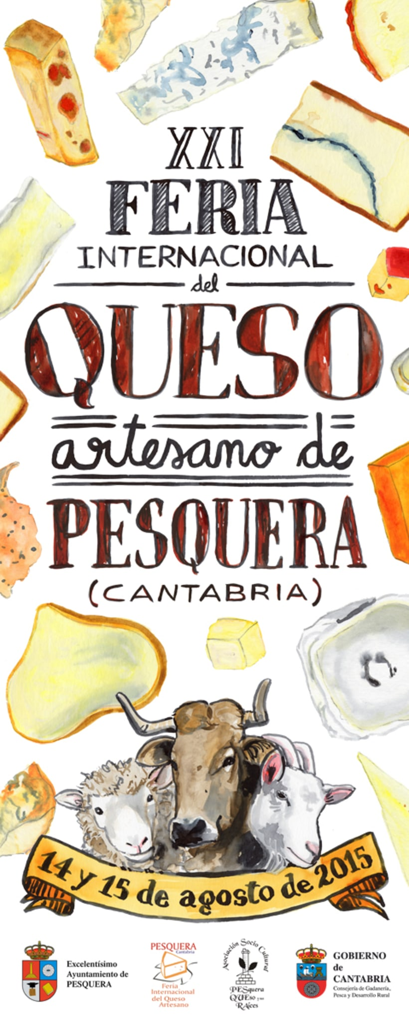 Propuesta Cartel Poster Feria del Queso de Pesquera · acuarela -1