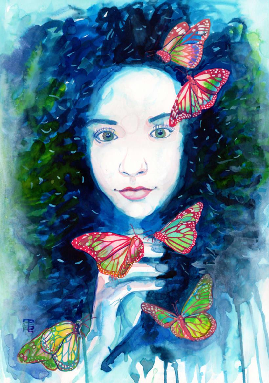 Retrato Montserrat pintado en acuarela 0