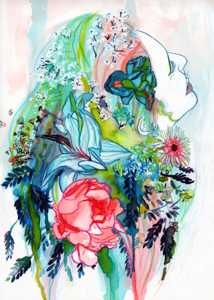 Retrato Patricia con flores pintado en acuarela 0