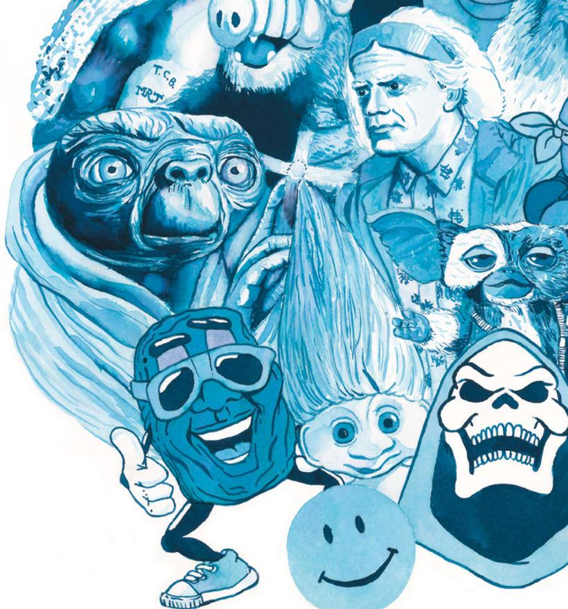 Oda a mis héroes de los 80 - Delft blauw - Acuarela 1