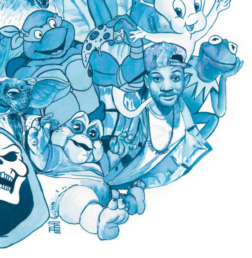 Oda a mis héroes de los 80 - Delft blauw - Acuarela 2