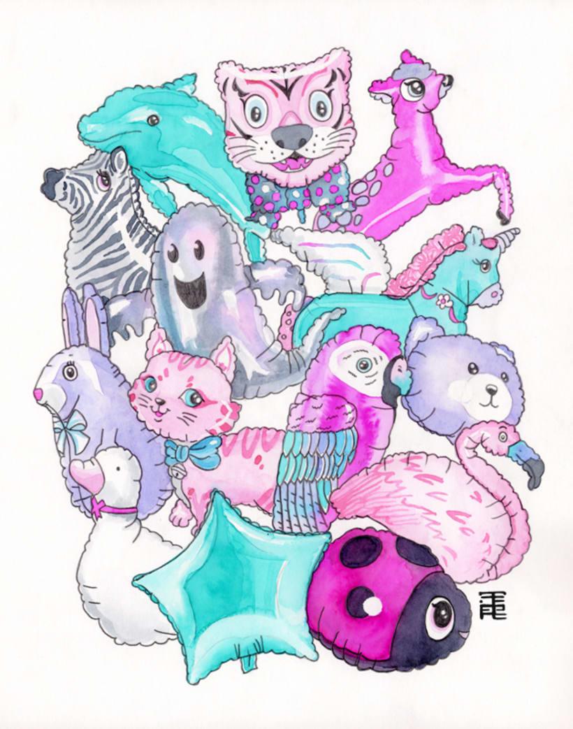 Globos de animalitos · acuarela 0