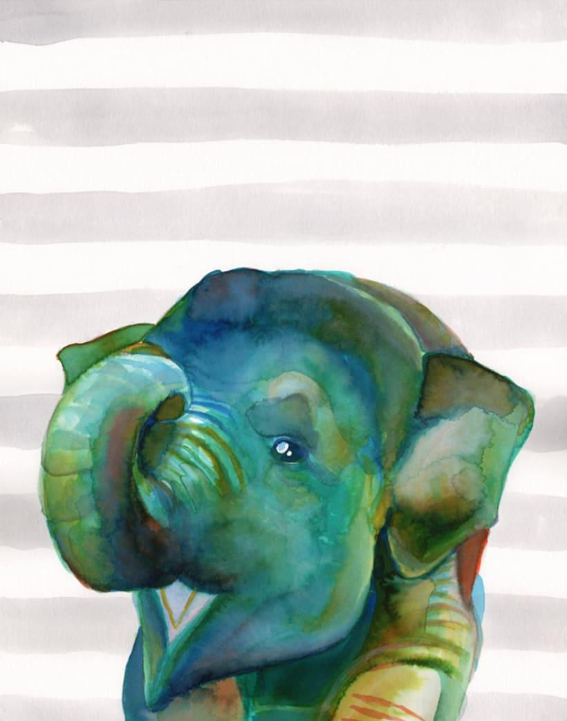 Retratos en acuarela de animales de la selva (set de 6) 5