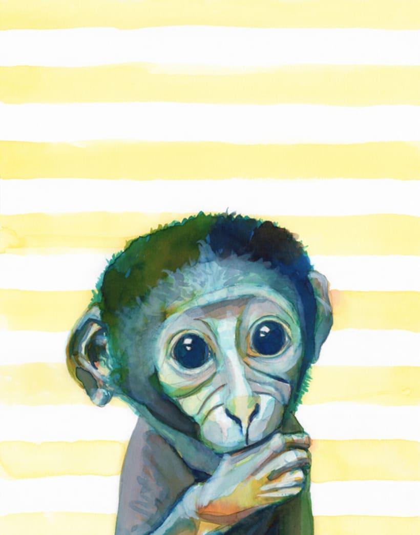 Retratos en acuarela de animales de la selva (set de 6) 2