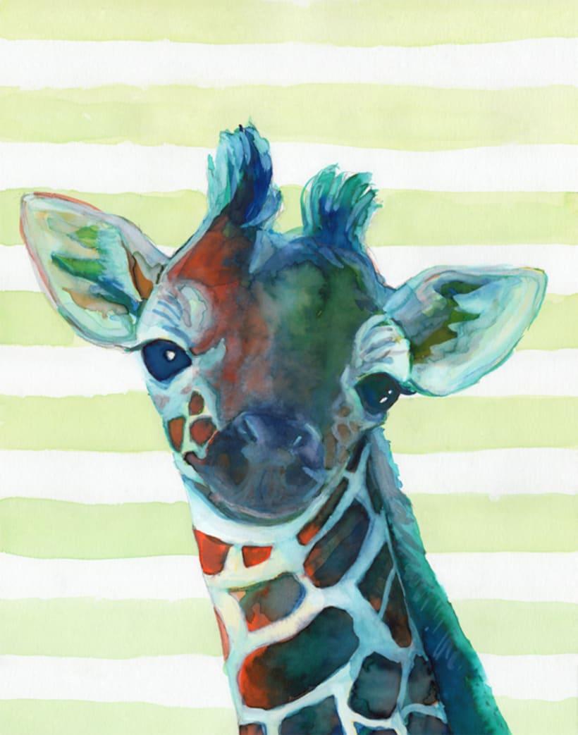 Retratos en acuarela de animales de la selva (set de 6) 0