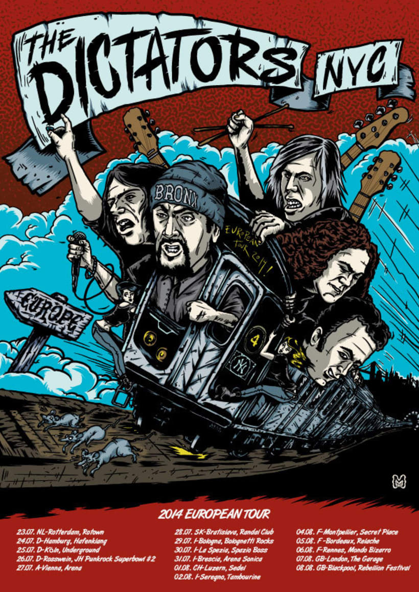 Póster del Tour Europeo de 2014 de The Dictators -1